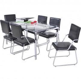 Mesa Pérola (Tampo de Vidro com 6 Cadeiras) - Modecor